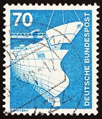 Postage stamp Germany 1975 Shipbuilding