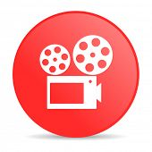 cinema red circle web glossy icon