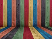 Concept or conceptual abstract multicolored or colorful old vintage grungy wood wall floor texture b
