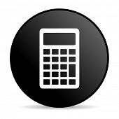 calculator black circle web glossy icon