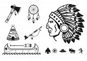stock photo of headdress  - Indians icons set - JPG
