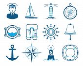 picture of nautical equipment  - Sea Sailing icons set - JPG