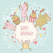 Funny happy birthday card. Cute animals �¢�?�? elephant, pig, horse and frog with tasty cupcakes in vector. Cartoon childish background