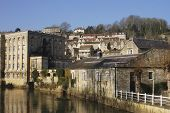 image of avon  - Old mill buildings now apartments by river at Bradford on Avon - JPG