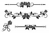 stock photo of embellish  - Rose flowers with vintage elements and borders - JPG