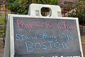 Boston - Apr 20: Pray For The Victims As Text Near Boylston Street In Boston, Usa On April 20, 2013.