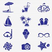 stock photo of shale  - The icons on the theme of the summer sea - JPG