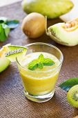 foto of honeydew melon  - Melon with Kiwi and Mango smoothie in glasses