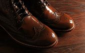 Luxury Brown Shoes On Wood Background
