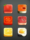 Alimentos app iconos vector set