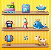 Illustration of the toys that are arranged neatly in the wooden shelves