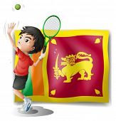 Illustration of a boy playing tennis in front of the Sri Lanka Flag on a white background