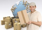 Messenger holding a package with a world map and cardboard boxes as a background