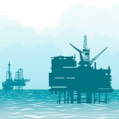 Oil rigs at sea