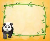 Illustratie van een lege briefpapier met een bamboe frame en een panda