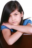 stock photo of scandinavian descent  - Angry young girl part asian  - JPG