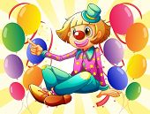 Illustration of a female clown sitting in the middle of the balloons