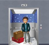 Illustration of a boy with two travelling bags inside the elevator