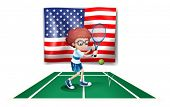 Illustration of a tennis player in front of the USA flag on a white background