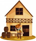 Illustration of a man holding a gun in front of a wooden house on a white background