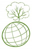 Illustration of a green tree at the top of a globe on a white background