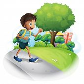 Illustration of a boy with a bag walking along the street on a white background