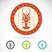 Set of vector lobster label