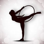Illustration of rhythmic gymnastic girl on grungy grey background. EPS10.