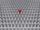Unique person in crowd. Concept 3D illustration