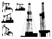 foto of oilfield  - Silhouettes of units for oil industry - JPG