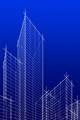 Abstract Wireframe Skyscrappers. Blue Version.