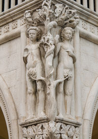pic of adam eve  - Column capital at Doge - JPG