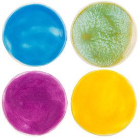 stock photo of raku  - Handmade glazed pottery circles isolated on white - JPG