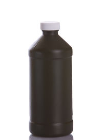 foto of plastic bottle  - Brown plastic bottle for chemicals medicine or other liquid on a white background - JPG