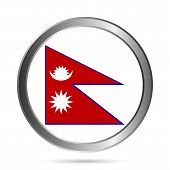 Nepal Flag Button.