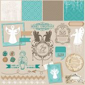 Scrapbook Design Element - Vintage Christmas Angel Set - in vector