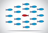 pic of directional  - a sharp smart alert happy red fish with open eyes going in the opposite direction of a group of sad blue fishes with closed eyes  - JPG