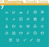 Shopping. Sport equipment, entertainment  and toys icon set