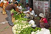People Sell Vegetables At Chawri Bazar In Delhi, India