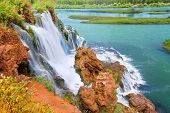stock photo of caribou  - Fall Creek Falls flows into the Snake River in the Caribou National Forest of Idaho - JPG