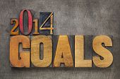 2014 goals - New Year resolution concept - text in vintage letterpress wood type blocks against grunge metal