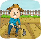 stock photo of hoe  - Illustration of a Male Farmer Using a Hoe to Cultivate a Garden Plot - JPG