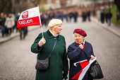 KRAKOW, POLAND - NOV 11: An unidentified participants celebrating National Independence Day an Repub