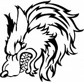 image of wolf anger head on a white background