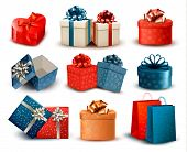 Set of colorful retro gift boxes with bows and ribbons. Vector illustration