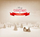 Christmas retro sepia winter landscape background. Vector.