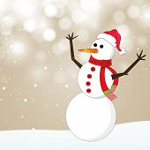 Merry Christmas celebration greeting card or invitation card with happy snowman in Santa Hat and sca
