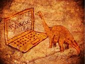 pic of prehistoric animal  - prehistoric petroglyph with computer and dinosaur digital illustration - JPG
