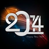 Happy New Year 2014 celebration poster, banner or flyer with shiny text on shiny orange and black background.