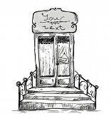 Entrance door, shop-window drawing